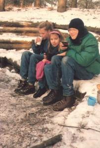 zitten in de sneeuw